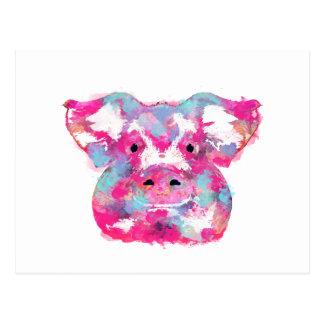 Big pink pig dirty ego postcard