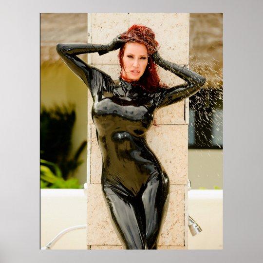Big Poster Black Latex Catsuit Bianca Beaucha Zazzle