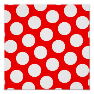 Big Red and White Polka Dots Poster