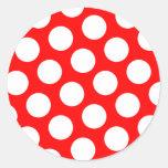 Big Red and White Polka Dots Round Sticker