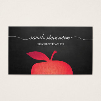 Big Red Apple Chalkboard School Teacher Business Card
