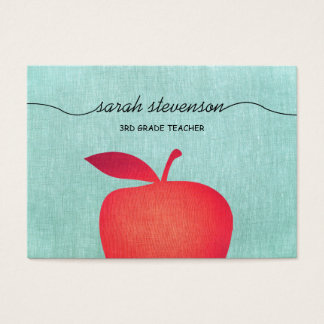 Big Red Apple Chalkboard School Teacher Linen Look