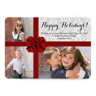 Big Red Bow 3 Photo Christmas Card 13 Cm X 18 Cm Invitation Card