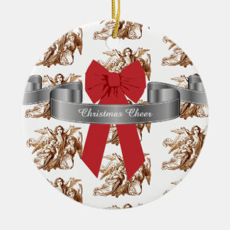 Big Red Bow and Angels Christmas Cheer Ceramic Ornament