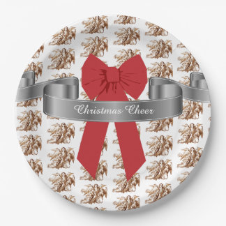 Big Red Bow and Angels Christmas Cheer Paper Plate