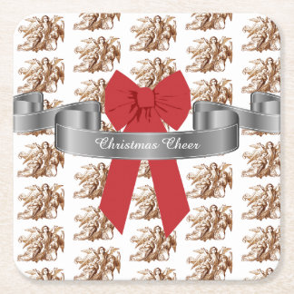Big Red Bow and Angels Christmas Cheer Square Paper Coaster