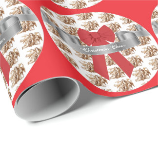 Big Red Bow and Angels Christmas Cheer Wrapping Paper