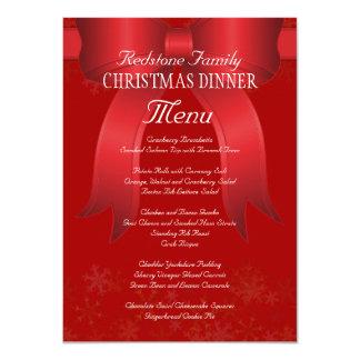 Big Red Bow Family Christmas Dinner Menu Card