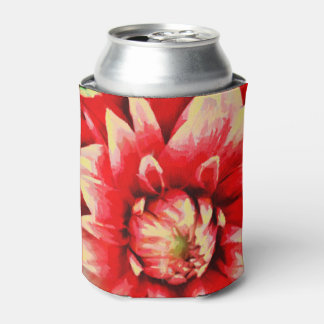 Big red flower can cooler