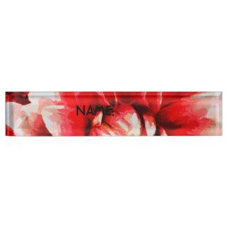 Big red flower desk name plates