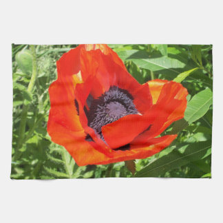 Big Red Flower Hand Towels