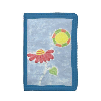 Big red flower in the sun blue kid wallet