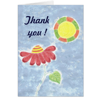 Big red flower in the sun Thank you card
