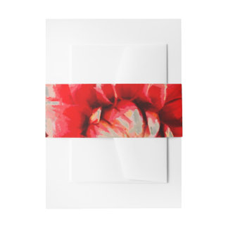 Big red flower invitation belly band
