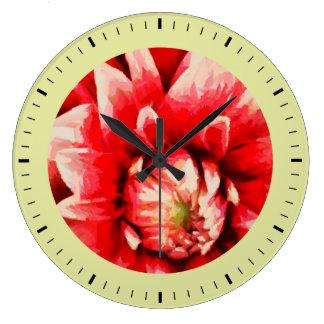 Big red flower large clock