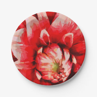 Big red flower paper plate