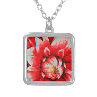 Big red flower silver plated necklace