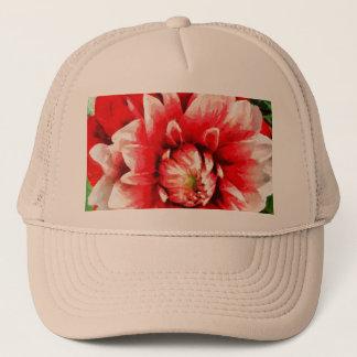 Big red flower trucker hat