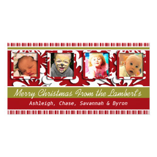 Big Red Flowers Tiny Stripes Christmas Photo Picture Card