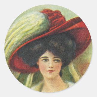 Big Red Hat Round Sticker