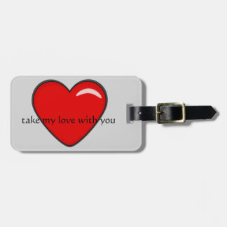 Big red heart luggage tag