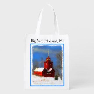 Big Red Lighthouse, Holland, MI Reusable Grocery Bag