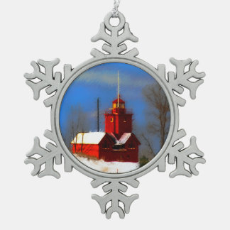 Big Red Lighthouse, Holland, MI Snowflake Pewter Christmas Ornament