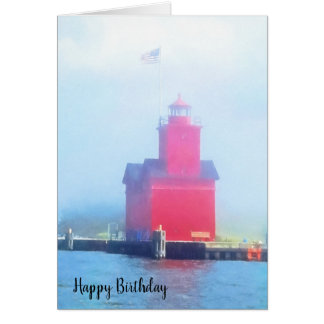 Big Red lighthouse in fog Card