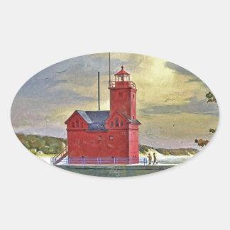 Big Red Oval Sticker