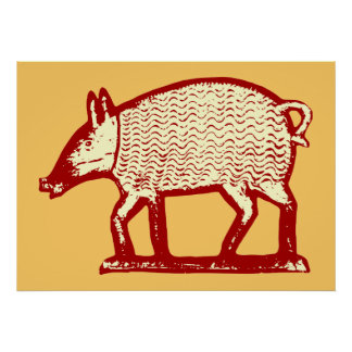 Big Red Pig: Folk Art for Country Kitchen, Bistro Poster
