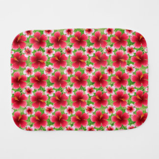 Big Red Pink Hibiscus Flowers Baby Burp Cloth
