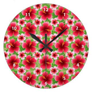 Big Red Pink Hibiscus Flowers Clocks