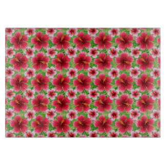 Big Red Pink Hibiscus Flowers Cutting Board