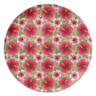 Big Red Pink Hibiscus Flowers Dinner Plates