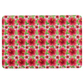 Big Red Pink Hibiscus Flowers Floor Mat