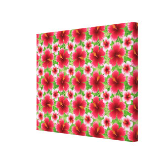 Big Red Pink Hibiscus Flowers Gallery Wrap Canvas