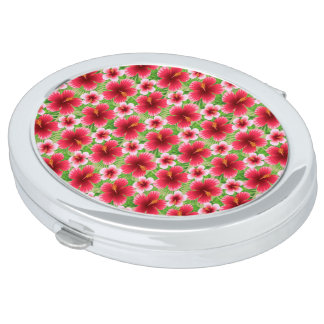 Big Red Pink Hibiscus Flowers Makeup Mirrors