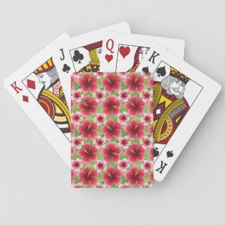 Big Red Pink Hibiscus Flowers Poker Deck