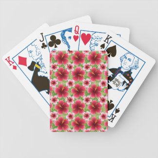 Big Red Pink Hibiscus Flowers Poker Deck