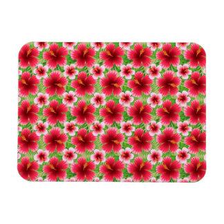 Big Red Pink Hibiscus Flowers Rectangular Photo Magnet