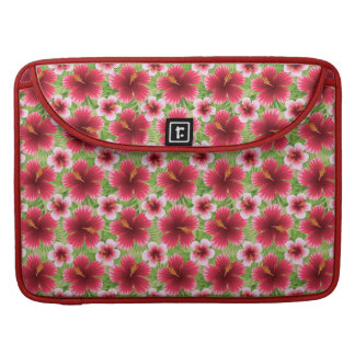 Big Red Pink Hibiscus Flowers Sleeves For MacBooks