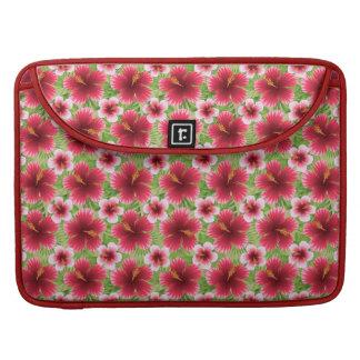 Big Red Pink Hibiscus Flowers Sleeves For MacBooks