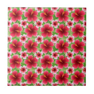 Big Red Pink Hibiscus Flowers Small Square Tile