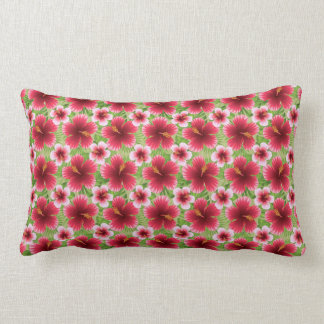 Big Red Pink Hibiscus Flowers Throw Cushion
