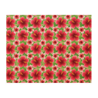 Big Red Pink Hibiscus Flowers Wood Canvases