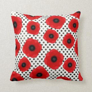 Big Red Poppy Flowers on Black and White Polka Dot Cushion