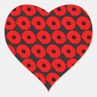 Big Red Poppy Flowers Pattern Heart Sticker