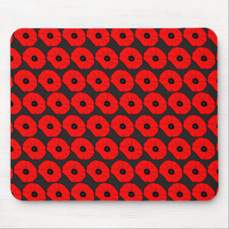 Big Red Poppy Flowers Pattern Mousepads