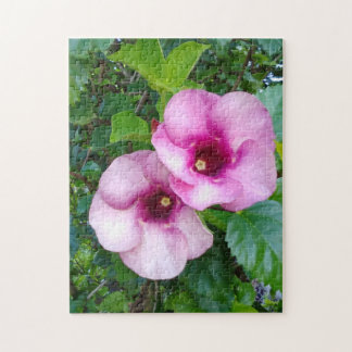 BIG RED ROUND FLOWERS JIGSAW PUZZLE