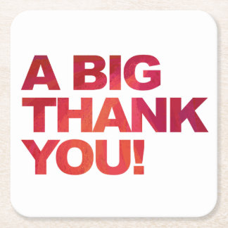 Big Red Thank You Square Paper Coaster